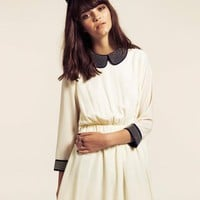 Dahlia Alexa Cream Studded Peter Pan Collar Dress