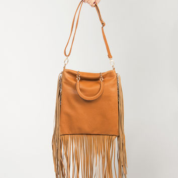 Fringed Out Leather Bag - Chestnut - Chestnut / One