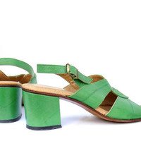 Vintage Shoes Green Leather 60s Sandals Chunky Heel Ankle Strap 6 1/2