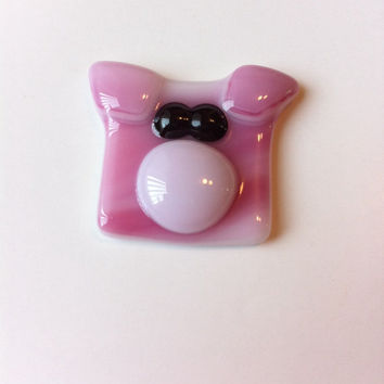 Pig, Piglet Made of Fused Glass, Magnet, Keychain, Zipper Pull, Brooch, Gift for Animal Lover, Gift Under 10, Design A Pig