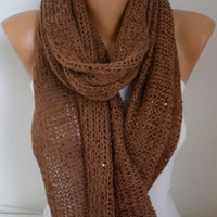 Brown Knitted Scarf Winter Accessories Shawl Scarf Cowl Scarf Gift Ideas For Her Women Fashion Accessories Christmas Gift