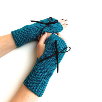 Teal  Fingerless Gloves, Knitted Fingerless mittens, Hand Warmers with Black Suede Bow