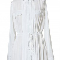 Double Pockets Pleated Shirt in White - New Arrivals - Retro, Indie and Unique Fashion