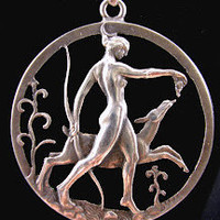 Art Deco Goddess Diana Pendant Scandinavian Silver Tore Strindberg Swedish Jewelry circa 1940s