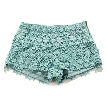 Floral Crochet Shorts in Teal Green M