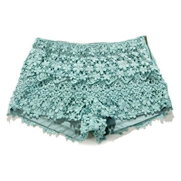 Floral Crochet Shorts in Teal - New Arrivals - Retro, Indie and Unique Fashion