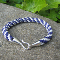Purple and White Braided Bracelet