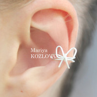 Small Wire Bow Cartilage Ear Cuff - silver plated