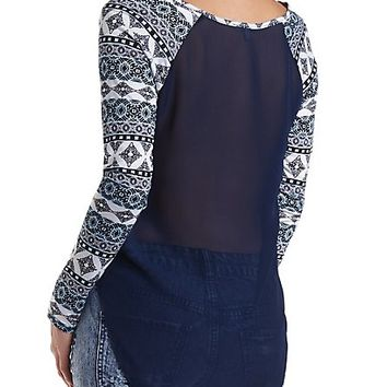 Printed & Chiffon High-Low Top by Charlotte Russe - Navy Combo