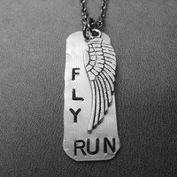 FLY RUNNING DOG TAG STYLE Necklace - Choose either RUN, 5K, 10K, HALF MARATHON, MARATHON - Light Weight Aluminum Tag with Pewter Wing on Gunmetal Chain  or Stainless Steel Ball Chain