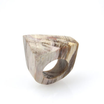 Solid petrified  wood ring, wood ring, solid wood ring, fossilised  ring, stone ring, solid fossilised wood ring, fossil