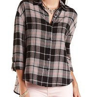 Button-Up Plaid Tunic Top by Charlotte Russe - Black Combo