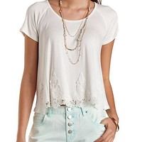 Crocheted Tulip Slit Tee by Charlotte Russe