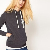 Barbour Bampton Hoodie with Barbour Logo in Charcoal Marl at asos.com