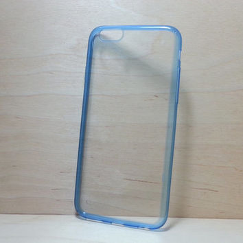Super slim TPU Soft Silicone Bumper and Clear Hard Acrylic Back Case for iphone 6 (4.7 inches) - Transparent Blue