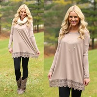 Look At Me Lace Tunic in Mocha