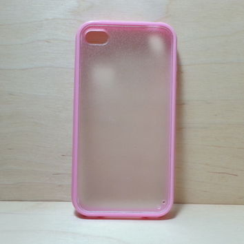 Silicone Bumper and Translucent Frosted Hard Plastic Back Case for iPhone 4 / 4S - Pink