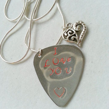 Custom Guitar Pick, I love You Pick Necklace, Sterling Silver Guitar Necklace,Gifts for Music Fans