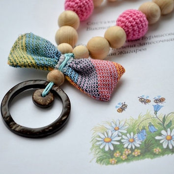 Teething necklace with ring and bow-butterfly Pink brown Colorful Wrap Scrap