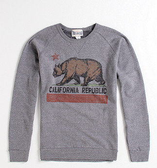 Gray Bear Flag Crew Fleece