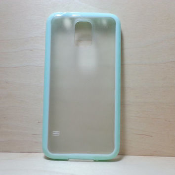 Silicone Bumper and Translucent Frosted Hard Plastic Back Case for Samsung Galaxy S5 - Mint Green