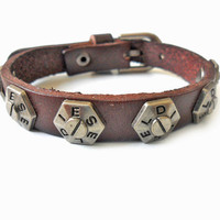 Bangle buckle bracelet leather bracelet Men bracelet made of metal and brown leather Bracelets cuff  SH-248
