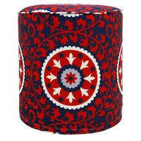 Suzani Outdoor Pouf, Red, Outdoor Poufs