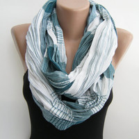 Infinity scarf- Striped linen scarf, multiple use loop scarf