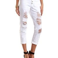 "Refuge ""Boyfriend"" White Cropped Jeans by Charlotte Russe - White"