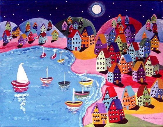 Colorful Night Sail Houses Full Moon From Reniebritenbucher On