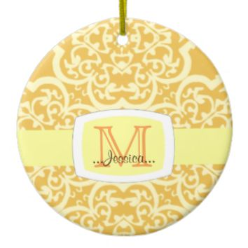 Quatrefoil Damask (Yellow) Christmas Ornament