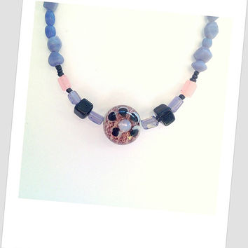Matte purple necklace, bohemian necklace/ gift idea for her