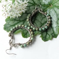Silver turquoise earrings - Sterling hoops with gemstone beads