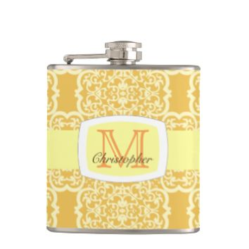 Quatrefoil Damask (Yellow) Flask