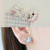 Starfish and Whale Asymmetrical Earrings (Pink)