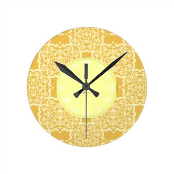 Quatrefoil Damask (Yellow) Round Clock