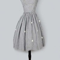 1950's Black & White Check Cotton Day Dress - S/M :