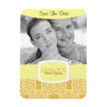 Quatrefoil Damask (Yellow) Rectangular Magnets