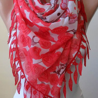 New - Red - Coral - Silk and Chiffon Scarf with Red Trim Edge - Romantic - Roses and Butterflies
