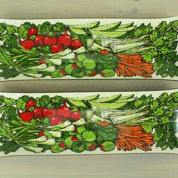 1960s Acrylic Serving Trays, Vegetables, S/2