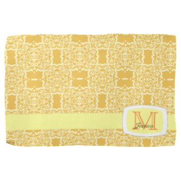 Quatrefoil Damask (Yellow) Towels