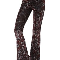 Burnout Velvet Flare Pants - Womens Pants - Black