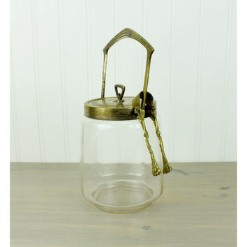 Vintage Brass & Glass Pickle Castor/Pickle Jar/Tongs