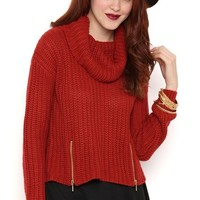 Long Sleeve Pullover Sweater with Cowl Neck and Zipper Sides