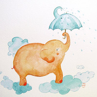 Elephant Umbrella nursery art watercolor orange aqua