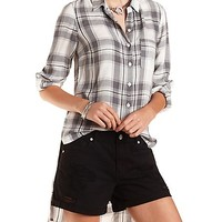 High-Low Button-Up Plaid Top by Charlotte Russe - Ivory Combo