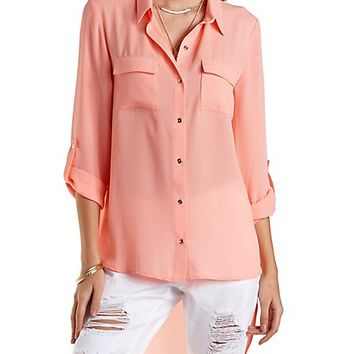High-Low Button-Up Top by Charlotte Russe - Coral