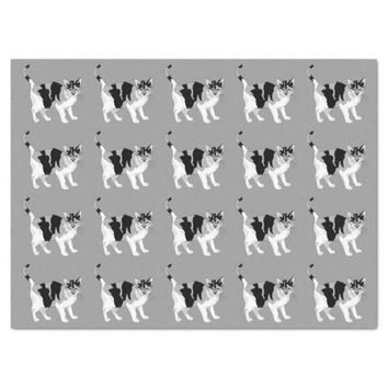 BLACK AND WHITE CAT (GREY) Tissue Paper