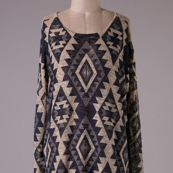 Navy and Taupe Aztec Tunic Top