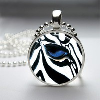 Zebra Glass Tile Bezel Round Pendant Necklace